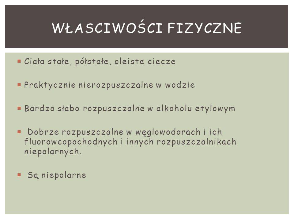  Ciała stałe, półstałe, oleiste ciecze  Praktycznie nierozpuszczalne w wodzie  Bardzo słabo rozpuszczalne w alkoholu etylowym  Dobrze rozpuszczaln
