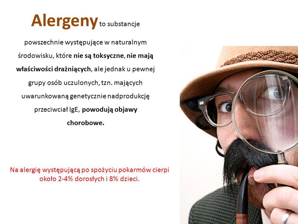 Alergeny to substancje powszechnie występujące w naturalnym środowisku, które nie są toksyczne, nie mają właściwości drażniących, ale jednak u pewnej grupy osób uczulonych, tzn.