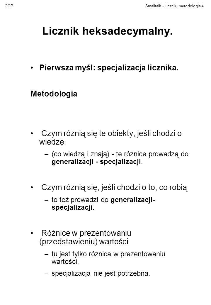OOPSmalltalk - Licznik, metodologia4 Licznik heksadecymalny. Pierwsza myśl: specjalizacja licznika. Metodologia Czym różnią się te obiekty, jeśli chod