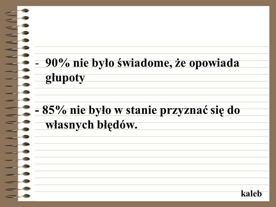 -90% nie było świadome, że opowiada głupoty - 85% nie było w stanie przyznać się do własnych błędów.