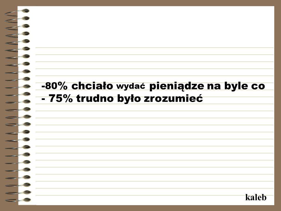 - 80 % chciało wydać pieniądze na byle co - 75% trudno było zrozumieć kaleb
