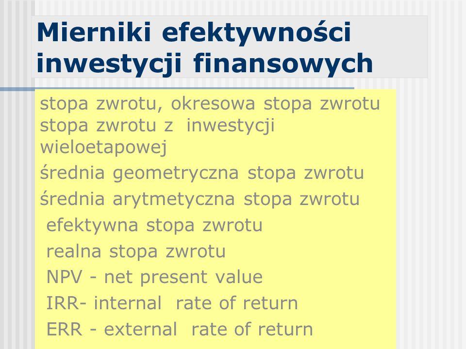 Mierniki efektywności inwestycji finansowych stopa zwrotu, okresowa stopa zwrotu stopa zwrotu z inwestycji wieloetapowej średnia geometryczna stopa zwrotu średnia arytmetyczna stopa zwrotu efektywna stopa zwrotu realna stopa zwrotu NPV - net present value IRR- internal rate of return ERR - external rate of return
