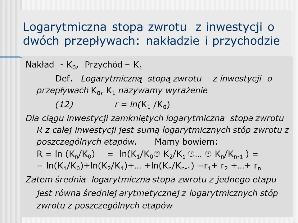 Logarytmiczna stopa zwrotu z inwestycji o dwóch przepływach: nakładzie i przychodzie Nakład - K 0, Przychód – K 1 Def.