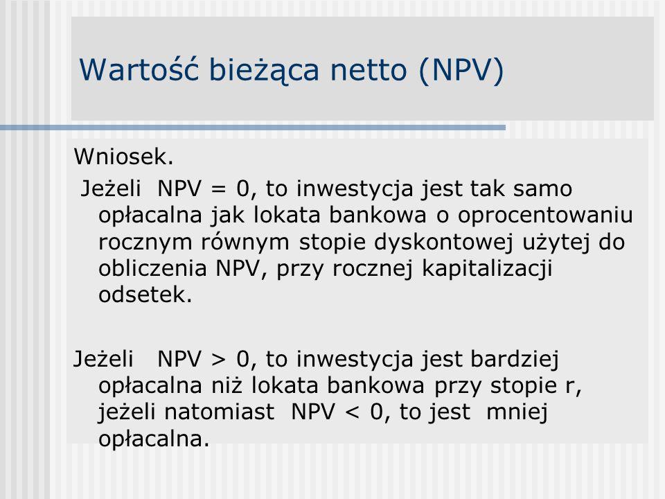 Wartość bieżąca netto (NPV) Wniosek.