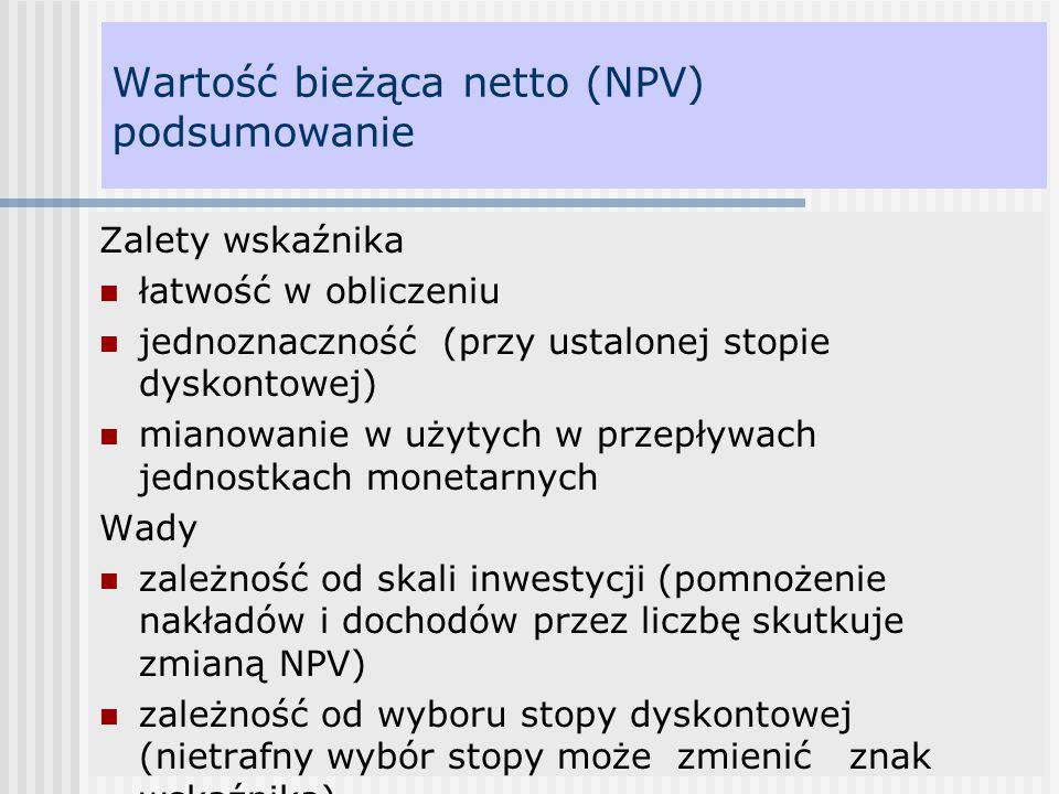 Wartość bieżąca netto (NPV) podsumowanie Zalety wskaźnika łatwość w obliczeniu jednoznaczność (przy ustalonej stopie dyskontowej) mianowanie w użytych
