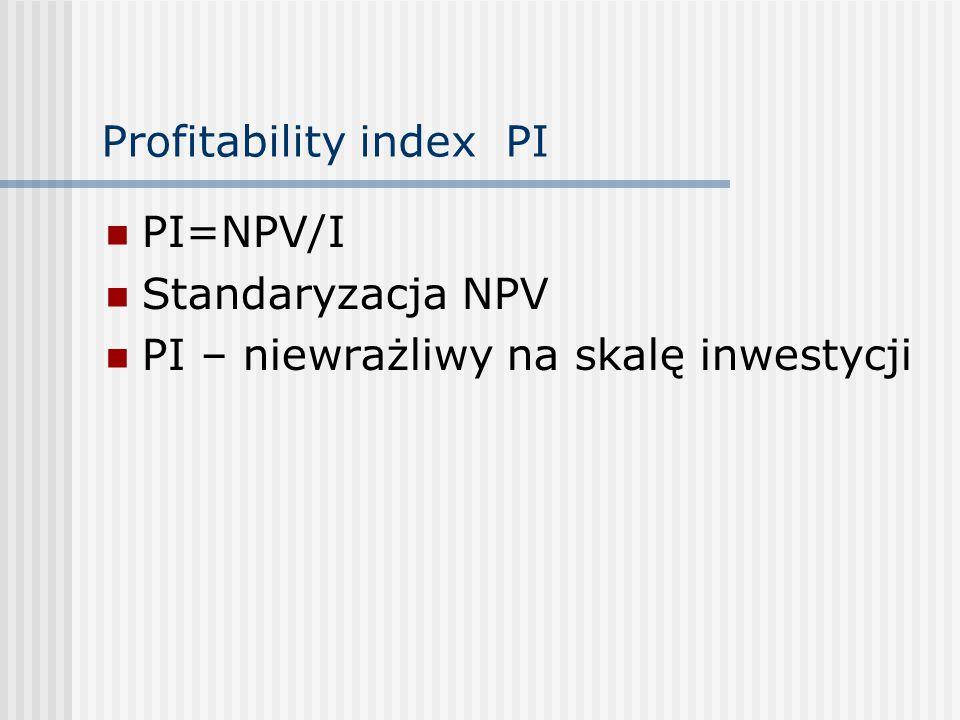 Profitability index PI PI=NPV/I Standaryzacja NPV PI – niewrażliwy na skalę inwestycji