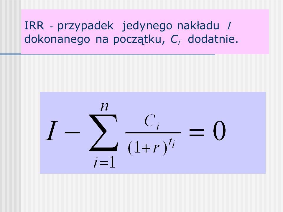 IRR - przypadek jedynego nakładu I dokonanego na początku, C i dodatnie.