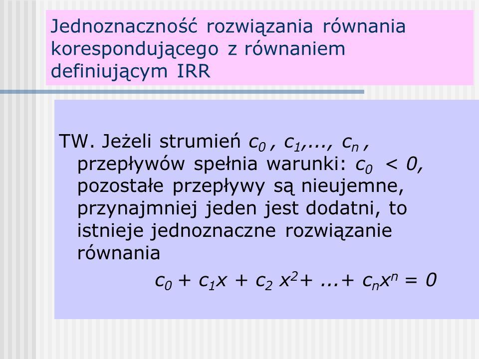 Jednoznaczność rozwiązania równania korespondującego z równaniem definiującym IRR TW.