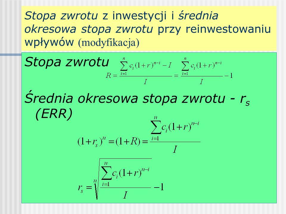 Stopa zwrotu z inwestycji i średnia okresowa stopa zwrotu przy reinwestowaniu wpływów (modyfikacja) Stopa zwrotu Średnia okresowa stopa zwrotu - r s (ERR)