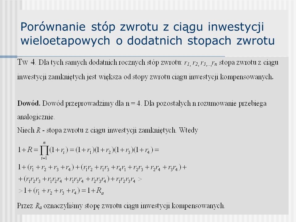 Wewnętrzna stopa zwrotu (IRR) internal rate of return Def.