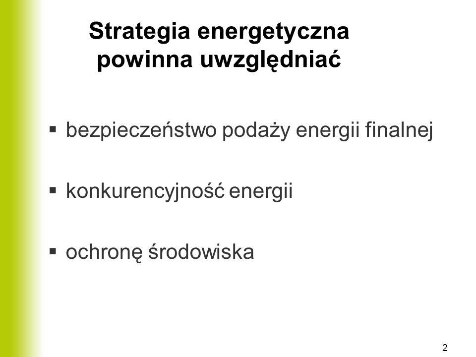 Strategia energetyczna powinna uwzględniać  bezpieczeństwo podaży energii finalnej  konkurencyjność energii  ochronę środowiska 2
