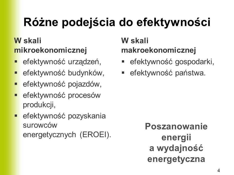Różne podejścia do efektywności W skali mikroekonomicznej  efektywność urządzeń,  efektywność budynków,  efektywność pojazdów,  efektywność proces