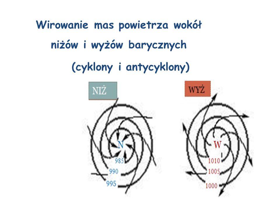 Występowanie strefy stałych wiatrów (pasaty)