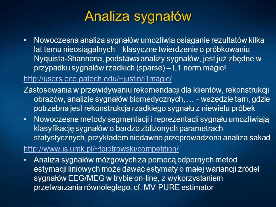 Analiza sygnałów Nowoczesna analiza sygnałów umożliwia osiąganie rezultatów kilka lat temu nieosiągalnych – klasyczne twierdzenie o próbkowaniu Nyquis