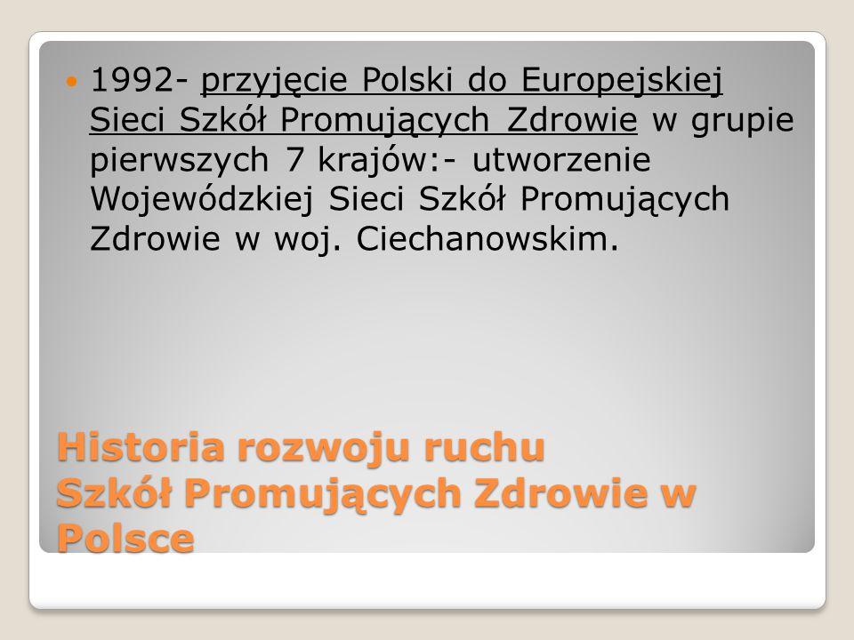 Historia rozwoju ruchu Szkół Promujących Zdrowie w Polsce 1992- przyjęcie Polski do Europejskiej Sieci Szkół Promujących Zdrowie w grupie pierwszych 7 krajów:- utworzenie Wojewódzkiej Sieci Szkół Promujących Zdrowie w woj.