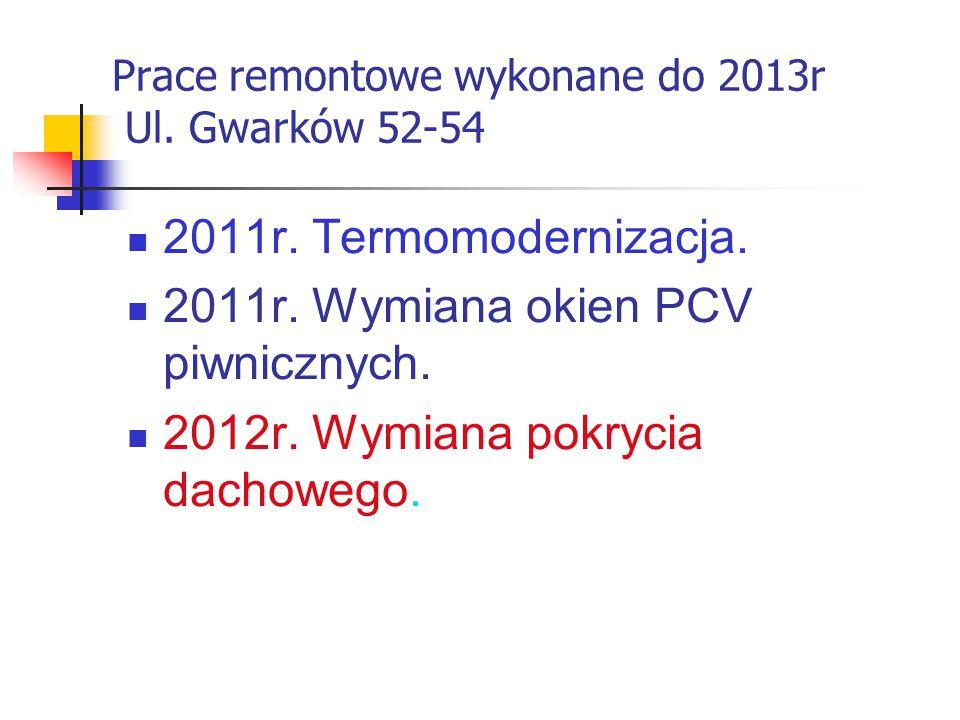 Prace remontowe wykonane do 2013r Ul. Gwarków 52-54 2011r.