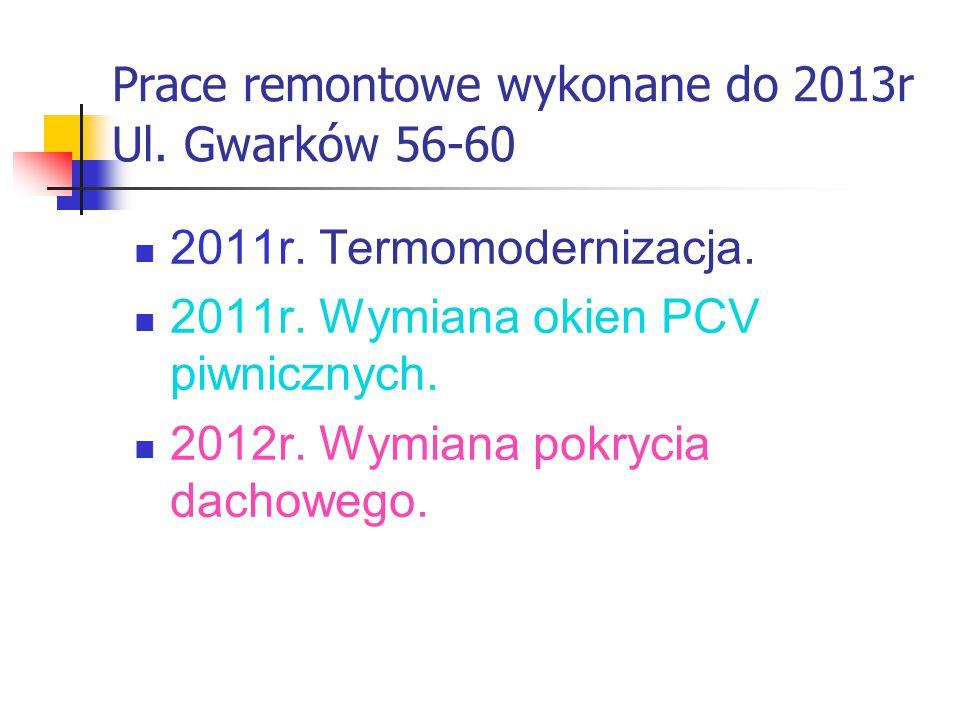 Prace remontowe wykonane do 2013r Ul.Gwarków 62-68 2004r.