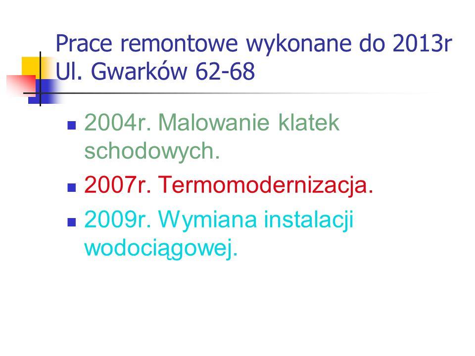 Prace remontowe wykonane do 2013r Ul. Gwarków 62-68 2004r.