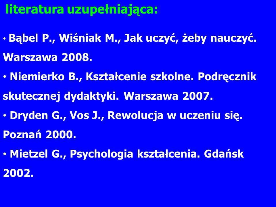 literatura uzupełniająca: Bąbel P., Wiśniak M., Jak uczyć, żeby nauczyć.