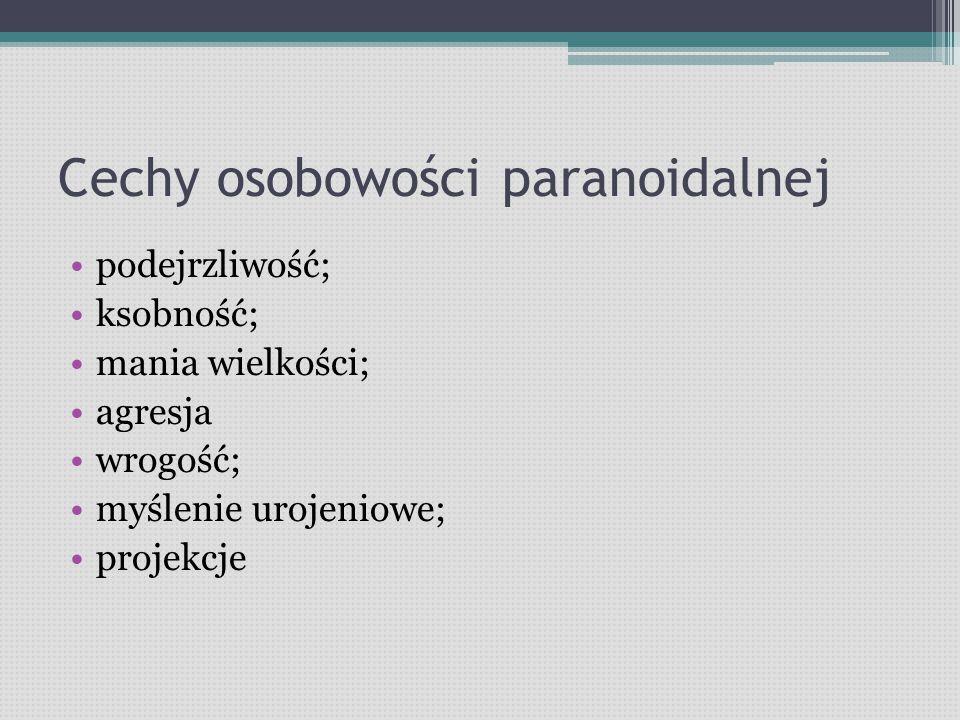 Cechy osobowości paranoidalnej podejrzliwość; ksobność; mania wielkości; agresja wrogość; myślenie urojeniowe; projekcje
