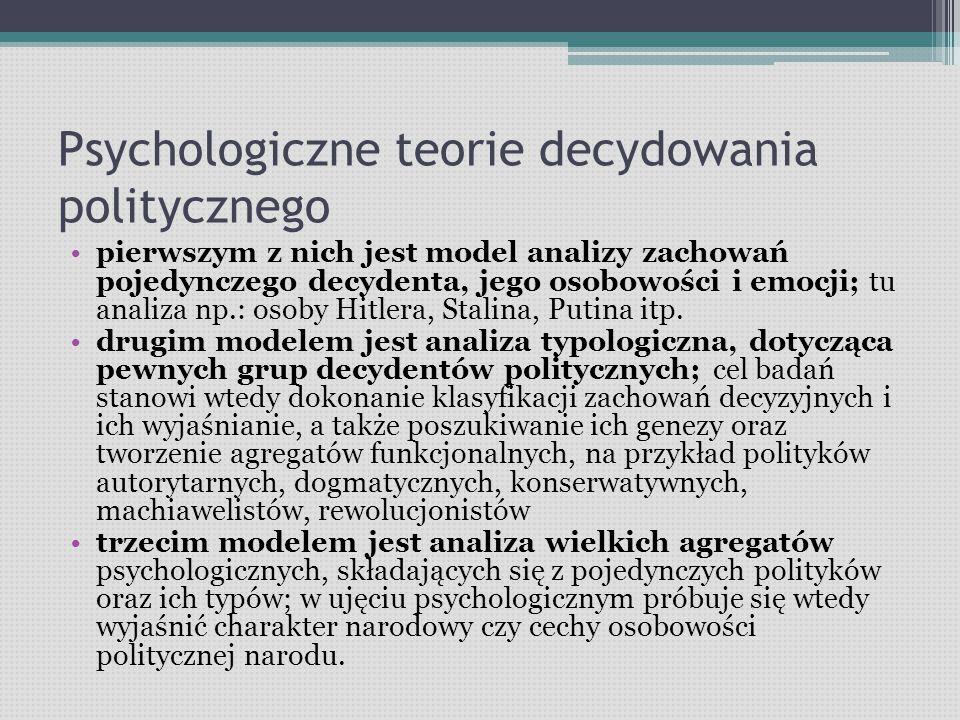 Psychologiczne teorie decydowania politycznego pierwszym z nich jest model analizy zachowań pojedynczego decydenta, jego osobowości i emocji; tu analiza np.: osoby Hitlera, Stalina, Putina itp.