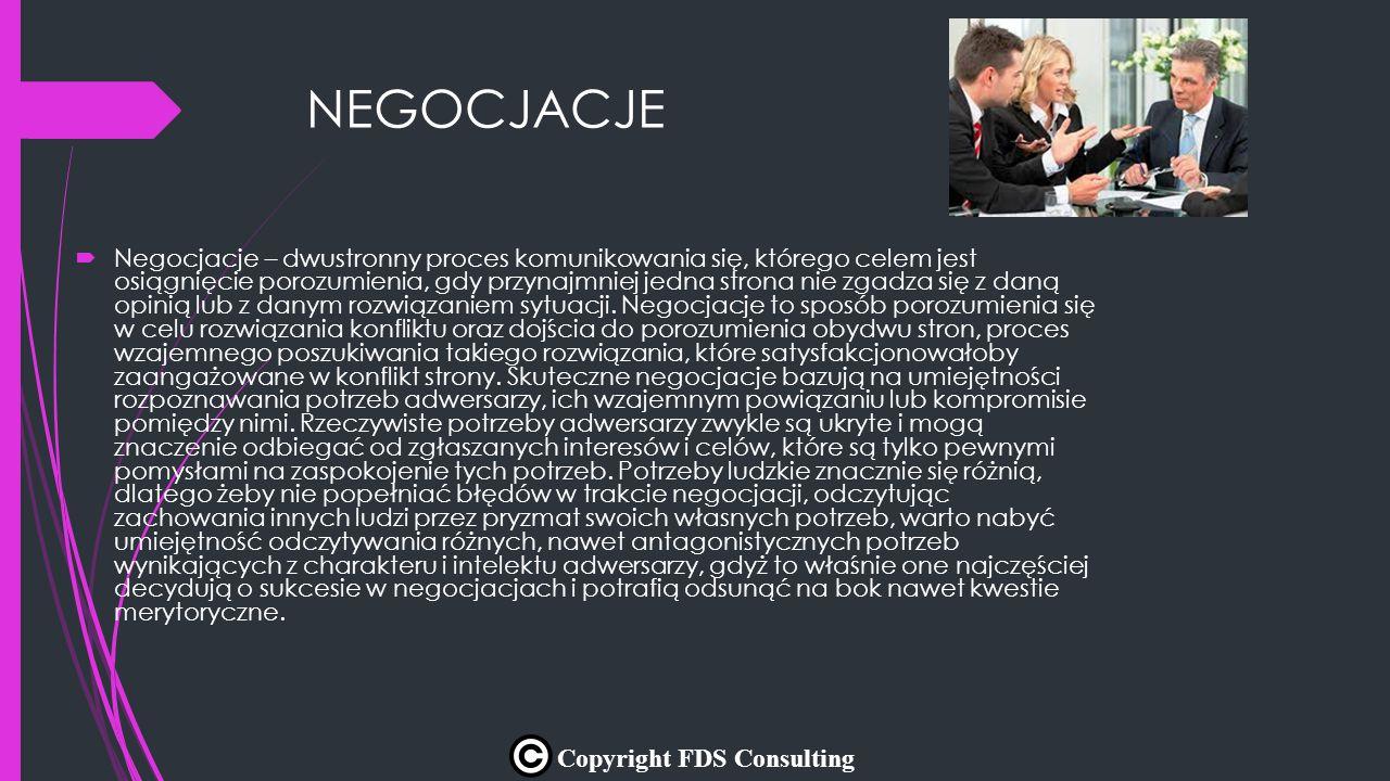 NEGOCJACJE  Negocjacje – dwustronny proces komunikowania się, którego celem jest osiągnięcie porozumienia, gdy przynajmniej jedna strona nie zgadza s