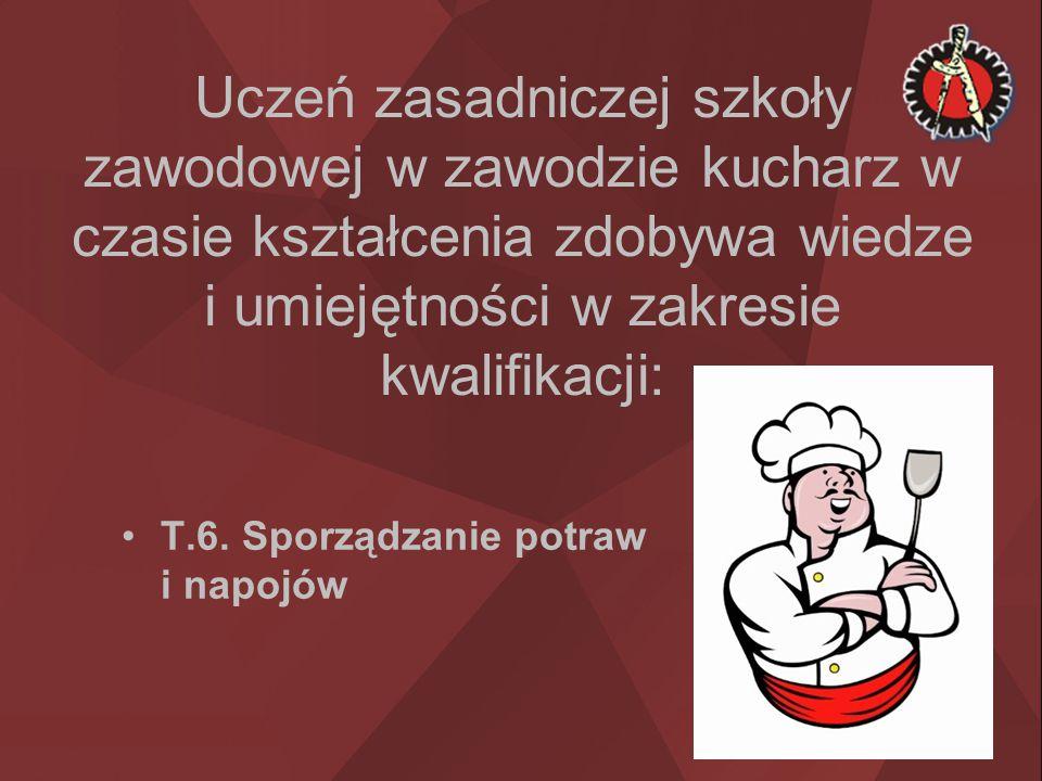 Uczeń zasadniczej szkoły zawodowej w zawodzie kucharz w czasie kształcenia zdobywa wiedze i umiejętności w zakresie kwalifikacji: T.6. Sporządzanie po