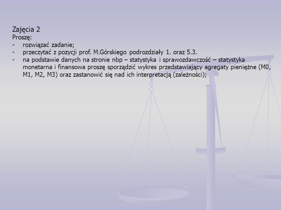 Zajęcia 2 Proszę: -rozwiązać zadanie; -przeczytać z pozycji prof. M.Górskiego podrozdziały 1. oraz 5.3. -na podstawie danych na stronie nbp – statysty