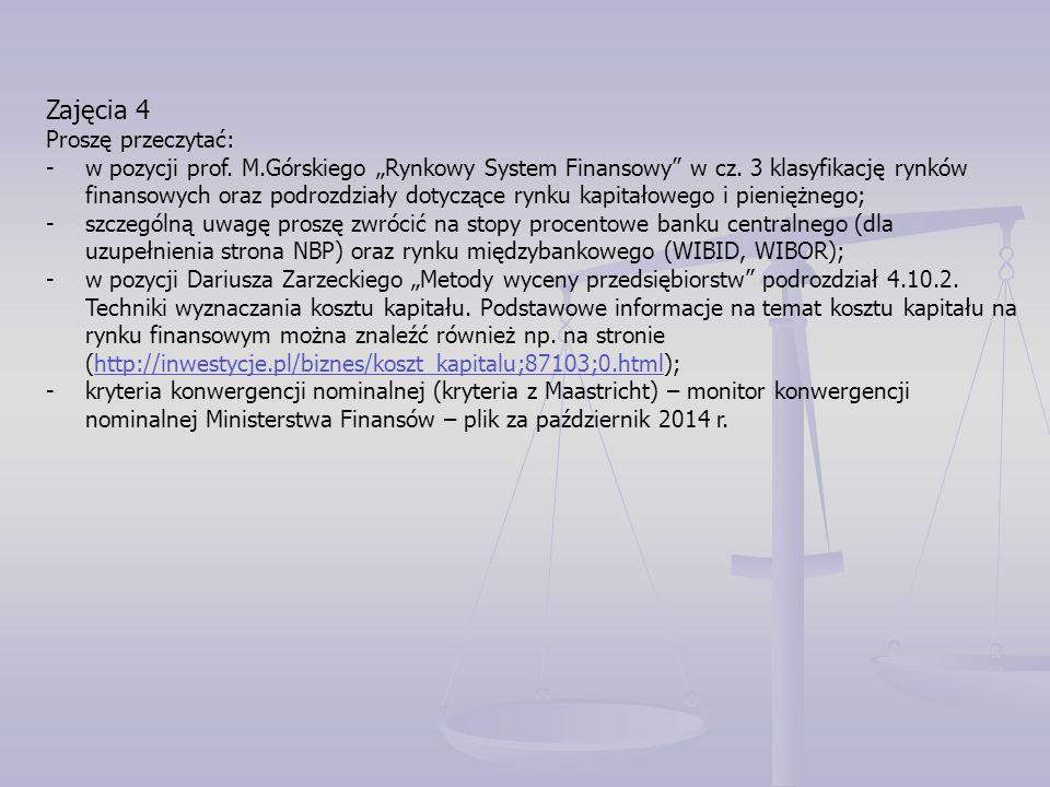 """Zajęcia 4 Proszę przeczytać: -w pozycji prof. M.Górskiego """"Rynkowy System Finansowy"""" w cz. 3 klasyfikację rynków finansowych oraz podrozdziały dotyczą"""