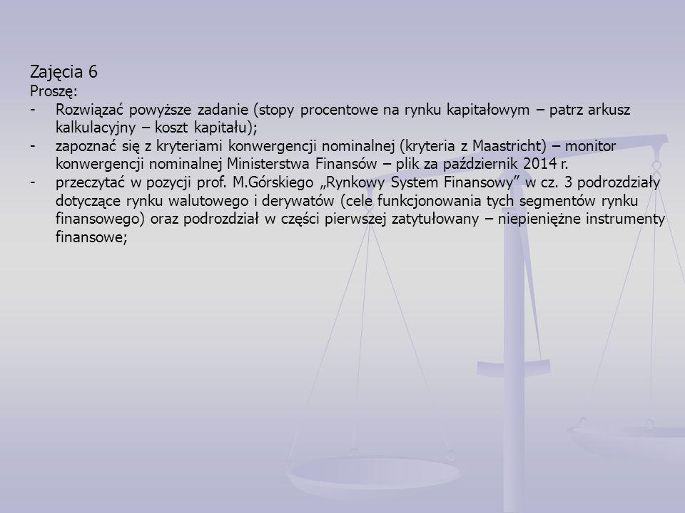 Zajęcia 6 Proszę: -Rozwiązać powyższe zadanie (stopy procentowe na rynku kapitałowym – patrz arkusz kalkulacyjny – koszt kapitału); -zapoznać się z kr
