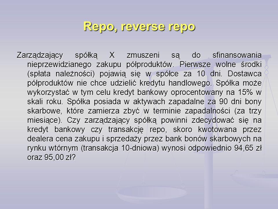 Repo, reverse repo Zarządzający spółką X zmuszeni są do sfinansowania nieprzewidzianego zakupu półproduktów. Pierwsze wolne środki (spłata należności)