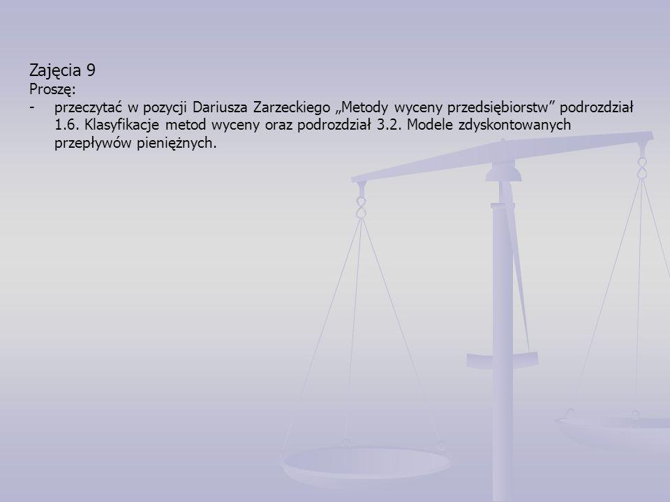 """Zajęcia 9 Proszę: -przeczytać w pozycji Dariusza Zarzeckiego """"Metody wyceny przedsiębiorstw"""" podrozdział 1.6. Klasyfikacje metod wyceny oraz podrozdzi"""