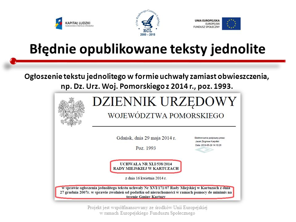 Błędnie opublikowane teksty jednolite Projekt jest współfinansowany ze środków Unii Europejskiej w ramach Europejskiego Funduszu Społecznego Ogłoszeni