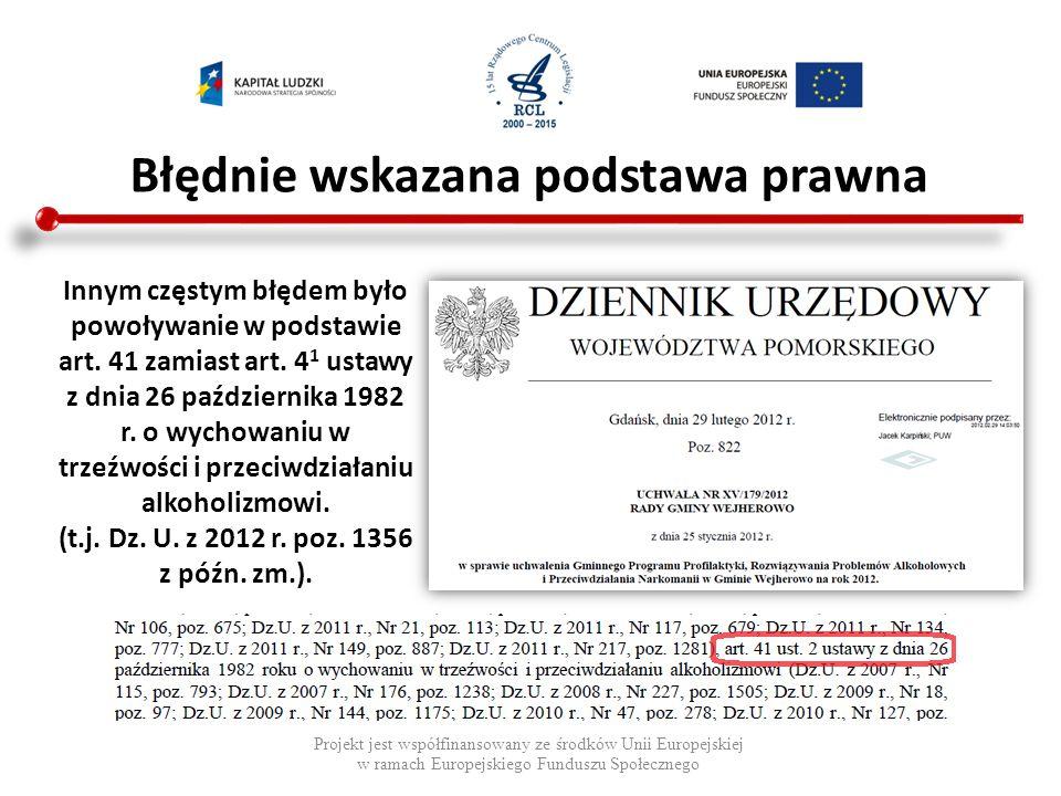 Błędnie wskazana podstawa prawna Projekt jest współfinansowany ze środków Unii Europejskiej w ramach Europejskiego Funduszu Społecznego Innym częstym