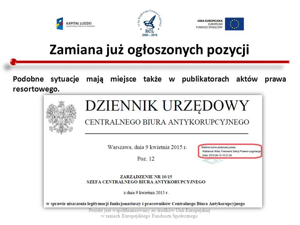Brakujące pozycje Projekt jest współfinansowany ze środków Unii Europejskiej w ramach Europejskiego Funduszu Społecznego Dziennik Urzędowy Województwa Podkarpackiego z 2012 r., brak pozycji 962 - 977