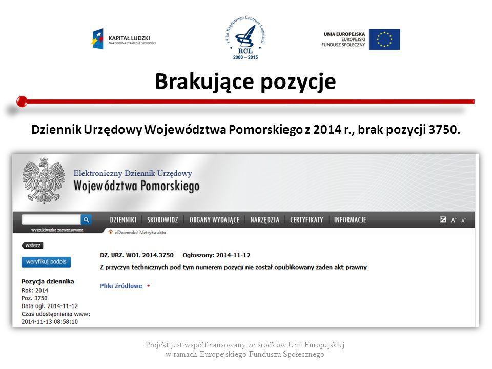Brakujące pozycje Projekt jest współfinansowany ze środków Unii Europejskiej w ramach Europejskiego Funduszu Społecznego Inne przykłady brakujących pozycji: Dziennik Urzędowy Województwa Pomorskiego z 2012 r., brak pozycji 1700, 2201, 2228, 3410.