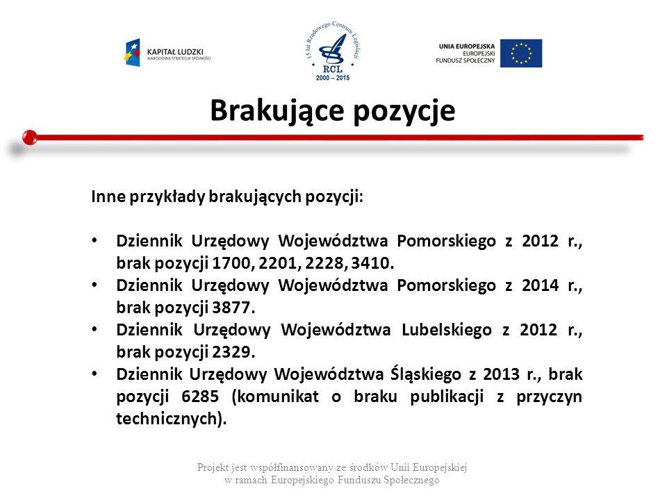 Data aktu późniejsza od daty publikacji Projekt jest współfinansowany ze środków Unii Europejskiej w ramach Europejskiego Funduszu Społecznego Dziennik Urzędowy Województwa Podlaskiego z 2013 r., poz.