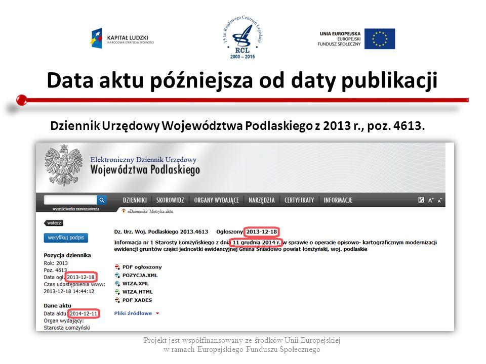 Data aktu późniejsza od daty publikacji Projekt jest współfinansowany ze środków Unii Europejskiej w ramach Europejskiego Funduszu Społecznego Najczęściej są to zwykłe pomyłki pisarskie, które potem są prostowane uchwałą, np.: Dz.