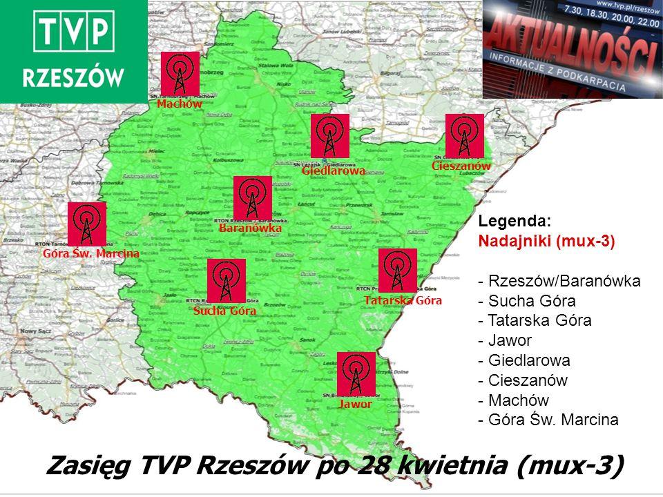 Zasięg TVP Rzeszów po 28 kwietnia (mux-3) Jawor Sucha Góra Tatarska Góra Cieszanów Giedlarowa Baranówka Machów Góra Św. Marcina Legenda: Nadajniki (mu