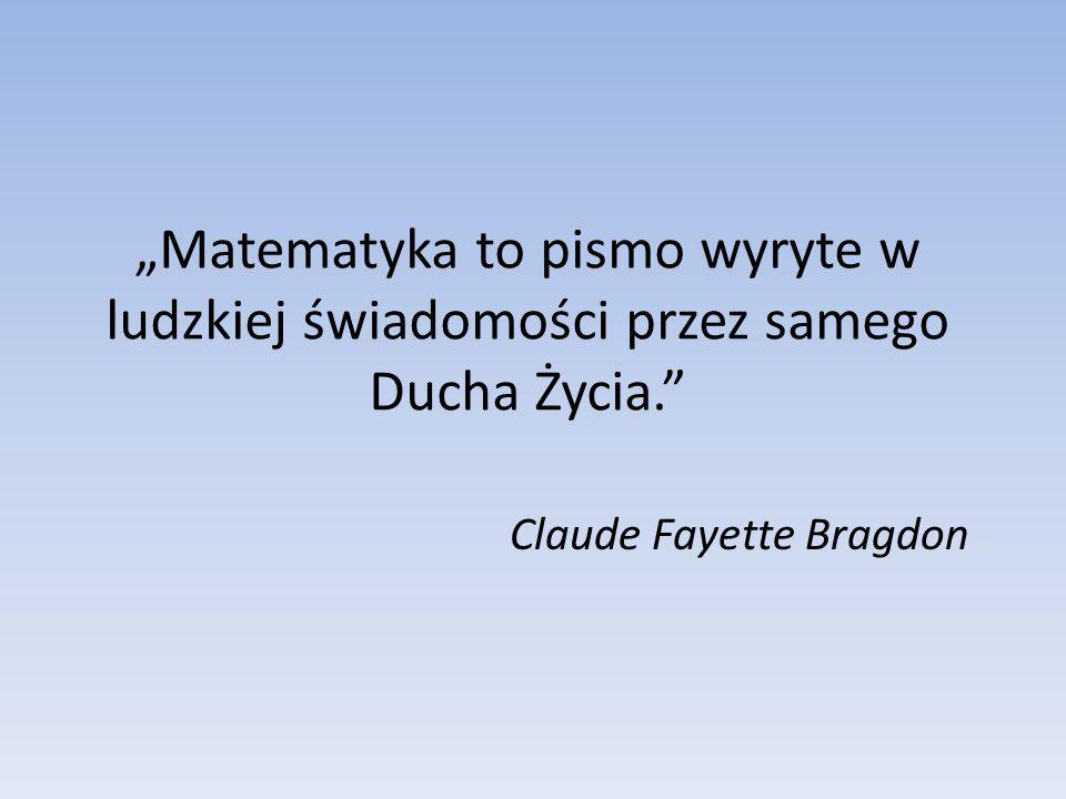 """""""Matematyka to pismo wyryte w ludzkiej świadomości przez samego Ducha Życia. Claude Fayette Bragdon"""