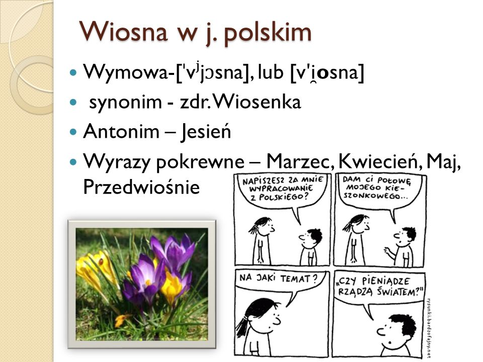 Wiosna w j.polskim Wymowa-[ ˈ v ʲ j ɔ sna], lub [v ʹ i ̯ osna] synonim - zdr.