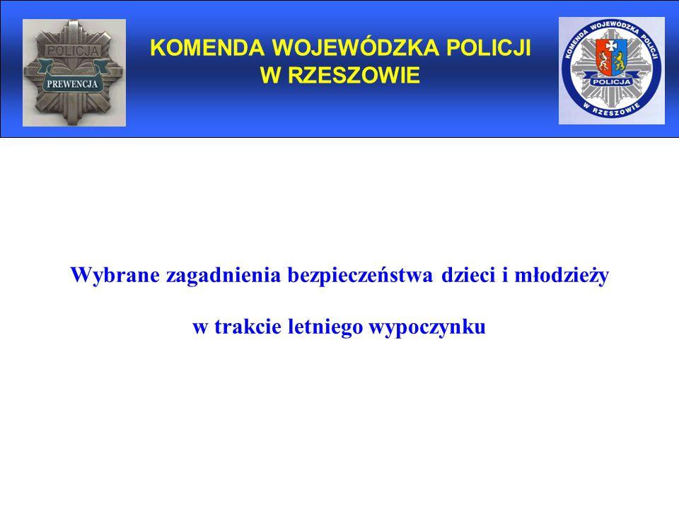 Wybrane zagadnienia bezpieczeństwa dzieci i młodzieży w trakcie letniego wypoczynku KOMENDA WOJEWÓDZKA POLICJI W RZESZOWIE