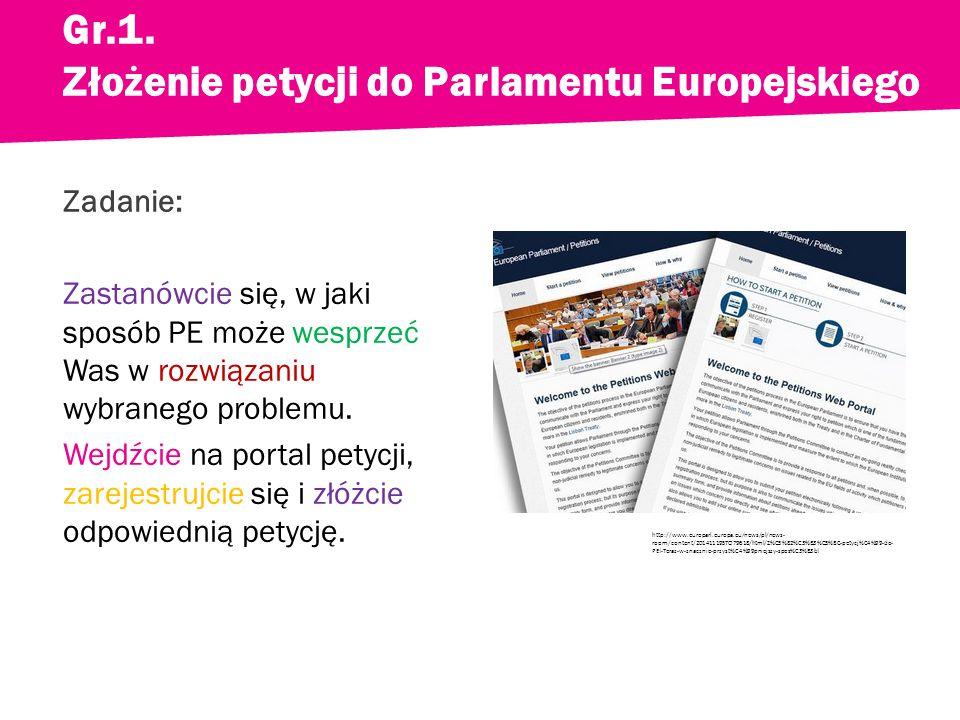 Zadanie: Zastanówcie się, w jaki sposób PE może wesprzeć Was w rozwiązaniu wybranego problemu.
