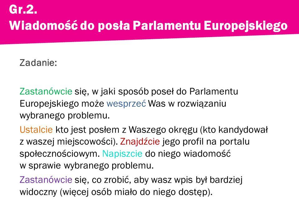 Zadanie: Zastanówcie się, w jaki sposób poseł do Parlamentu Europejskiego może wesprzeć Was w rozwiązaniu wybranego problemu.