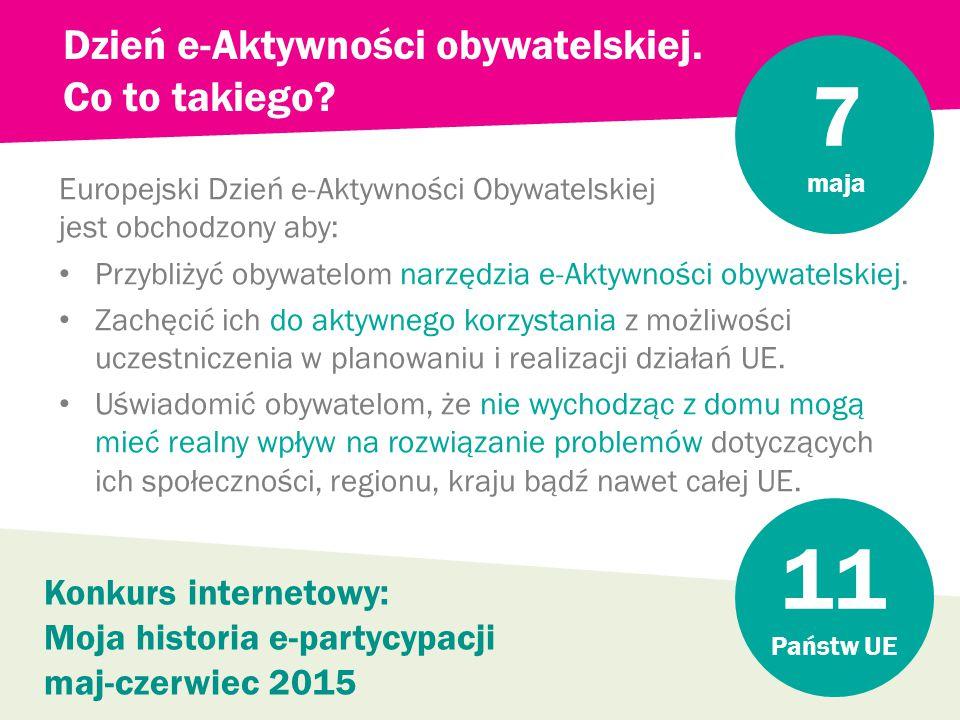 Europejski Dzień e-Aktywności Obywatelskiej jest obchodzony aby: Przybliżyć obywatelom narzędzia e-Aktywności obywatelskiej.