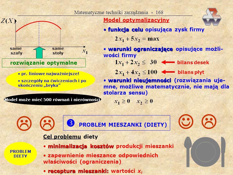 Matematyczne techniki zarządzania - 167 PROBLEM STOLARZA Przykład 38.
