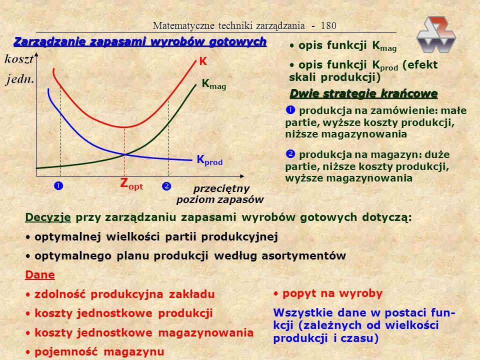 Matematyczne techniki zarządzania - 179 Najstarszy i najbardziej znany model zapasów EOQ N o = optymalna liczba zamówień na rok dająca najmniej- sze całkowite koszty zapasów A = wartość rocznego zużycia surowca C = ułamek określający udział kosztów magazynowania P = koszt realizacji jednego zamówienia Dalsze wzory N d = optymalna liczba dni na jedno zamówienie N zł = optymalna wartość jednego zamówienia N j = optymalna wielkość jednego zamówienia R = cena jednej jednostki surowca Decyzje przy zarządzaniu zapasami surowców dotyczą: wielkości bezpiecznego poziomu zapasów optymalnego momentu złożenia zamówienia optymalnej wielkości zamówienia Dane koszty realizacji zamówienia koszty magazynowania: odsetki, straty, utrzymanie magazynu, eksploatacja magazynu, ubezpieczenie, koszty ogólne zużycie jednostkowe surowca i inne 