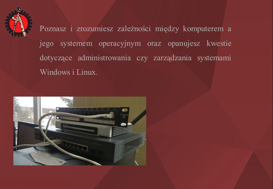 Poznasz i zrozumiesz zależności między komputerem a jego systemem operacyjnym oraz opanujesz kwestie dotyczące administrowania czy zarządzania systemami Windows i Linux.