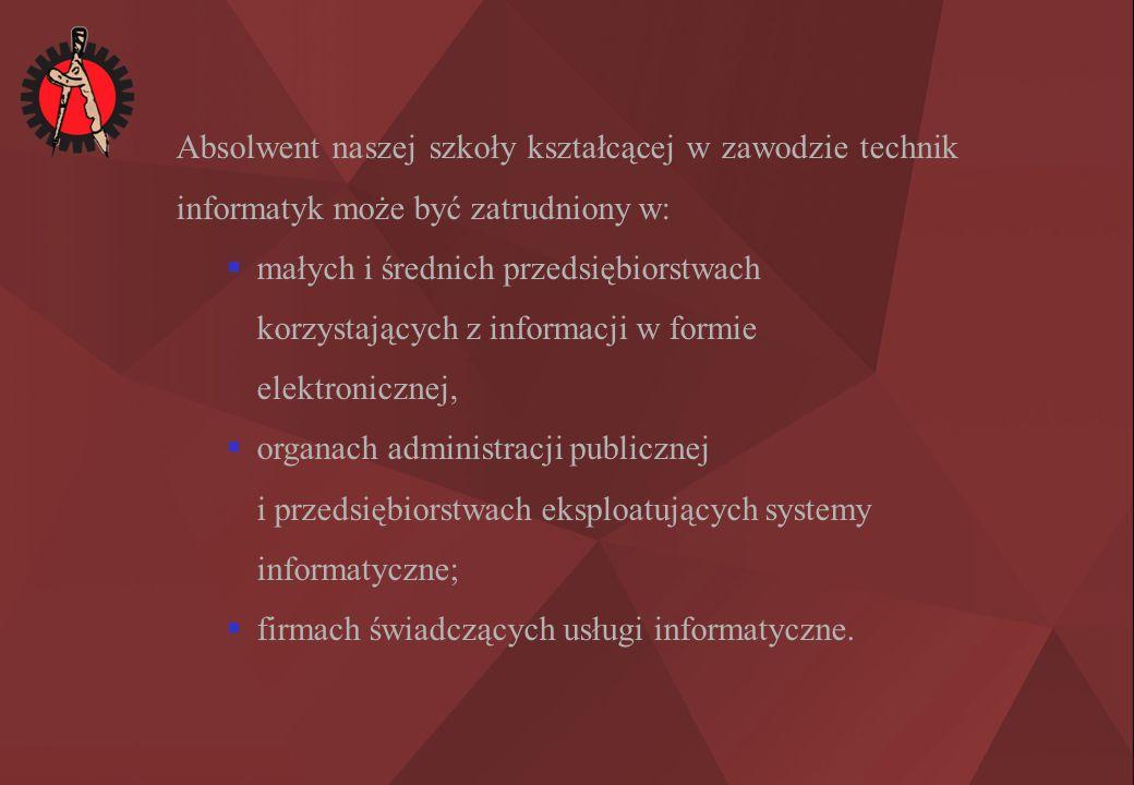 Absolwent naszej szkoły kształcącej w zawodzie technik informatyk może być zatrudniony w:  małych i średnich przedsiębiorstwach korzystających z informacji w formie elektronicznej,  organach administracji publicznej i przedsiębiorstwach eksploatujących systemy informatyczne;  firmach świadczących usługi informatyczne.