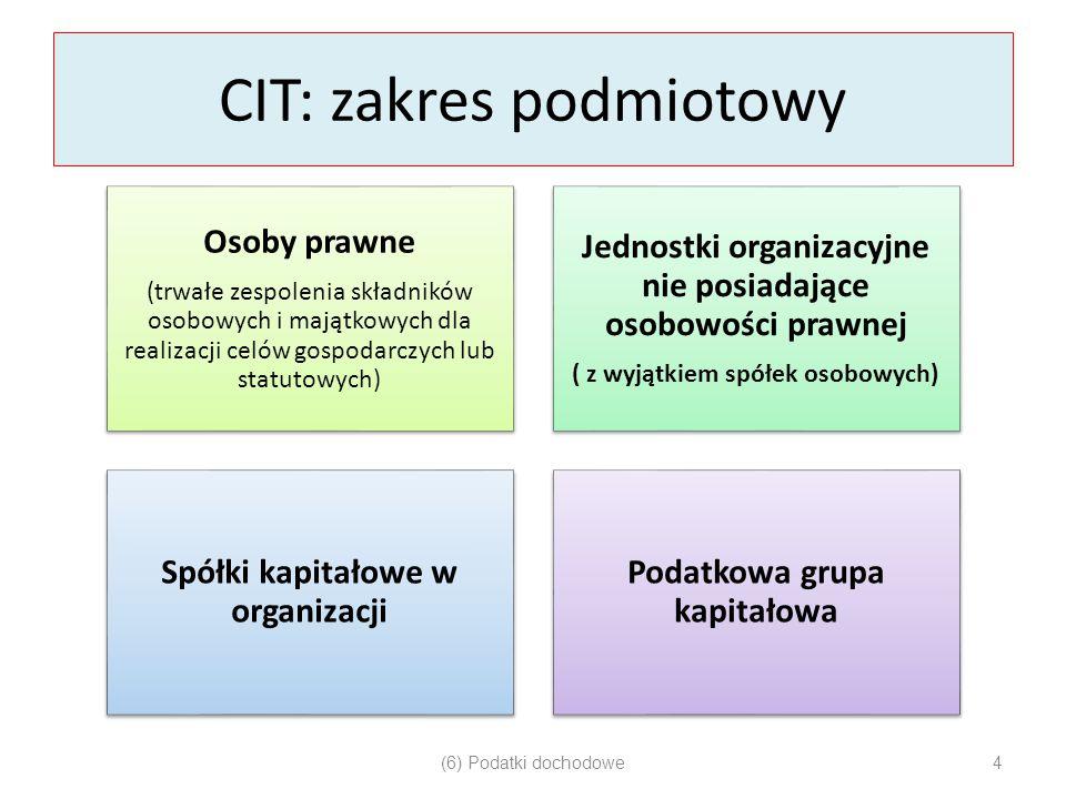 CIT: zakres podmiotowy Osoby prawne (trwałe zespolenia składników osobowych i majątkowych dla realizacji celów gospodarczych lub statutowych) Jednostk